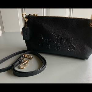 NWT Coach Charley Embossed BlackLeather Crossbody